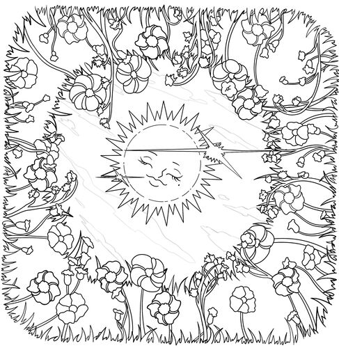 Sun and Moon Colouring Page 2